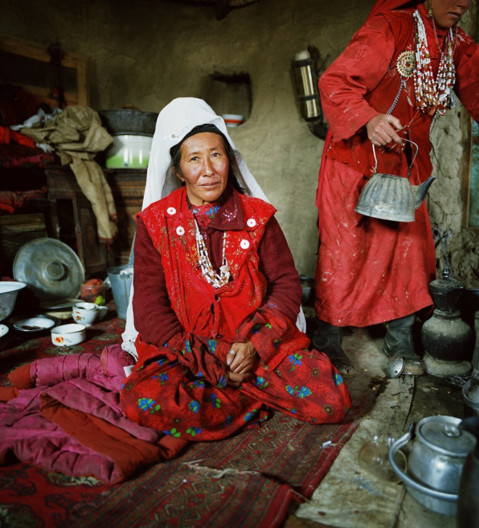 Wakhi women prepare a drink to share with their visitors.