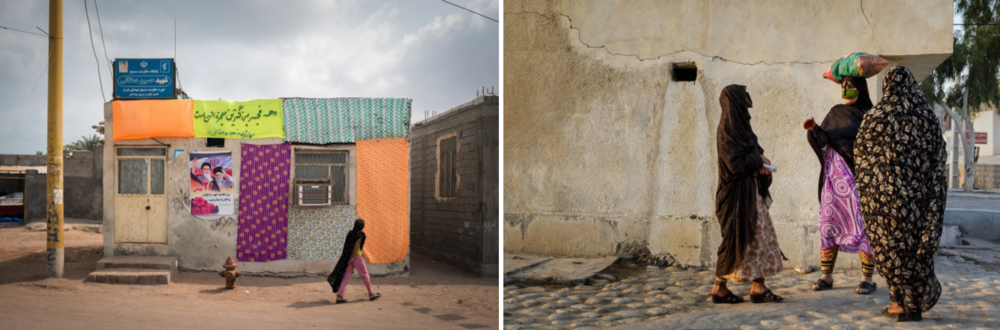 (Left) A colourfully adorned house on Hormuz with a poster of Iran's past and present. (Right) Women on Qeshm Island