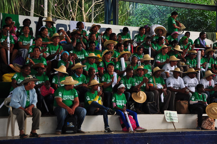 Farmers in the Alta Montaña region have vociferously protested environmentally damaging infrastructure developments. Here, they prepare to march.Sembrando Paz Archive