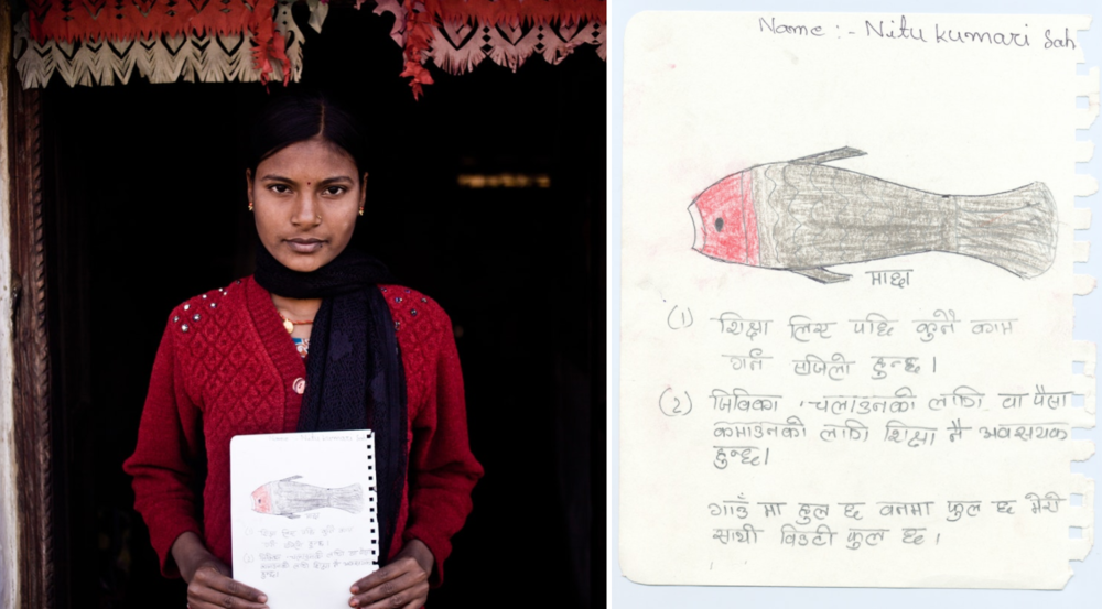 "Asked to share why education was so important to her, Nitu Kumari wrote, ""Education makes work easier. Education is important for prosperity and well being. People are gathering in the village, flowers are blooming in the jungle, in the same way you are very beautiful."""