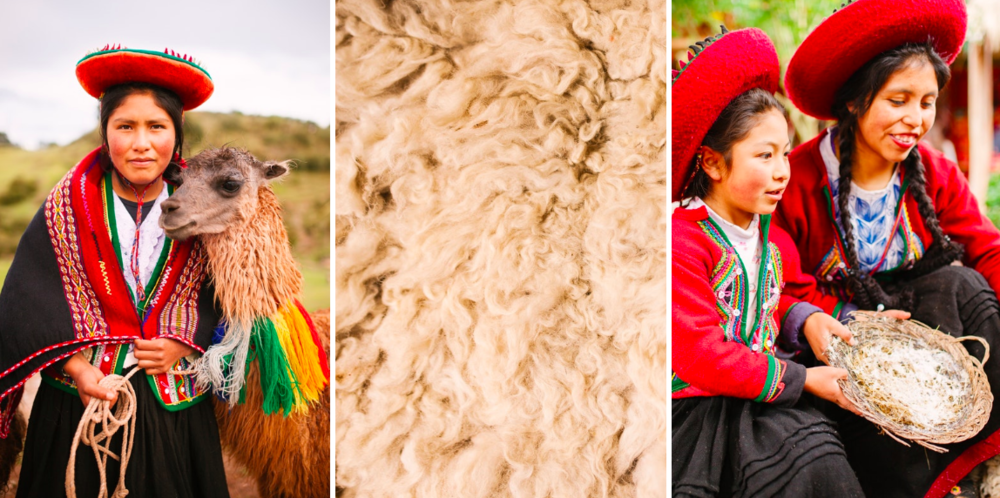 Above: Mariana (18), a young Andean girl from a traditional Quechua community in Piuray Lagoon, poses for a portrait with her llama. Both llamas and alpacas, domesticated species of camelid, provide lanolin-free fibres, making them soft and insulating, no matter the climate.