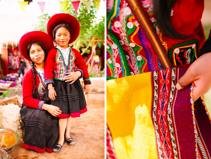 Above: Concepcion (24) and her daughter Feliciana (7), from a traditional Quechua community near Piuray Lagoon, pose for a portrait in the weaving workshop.