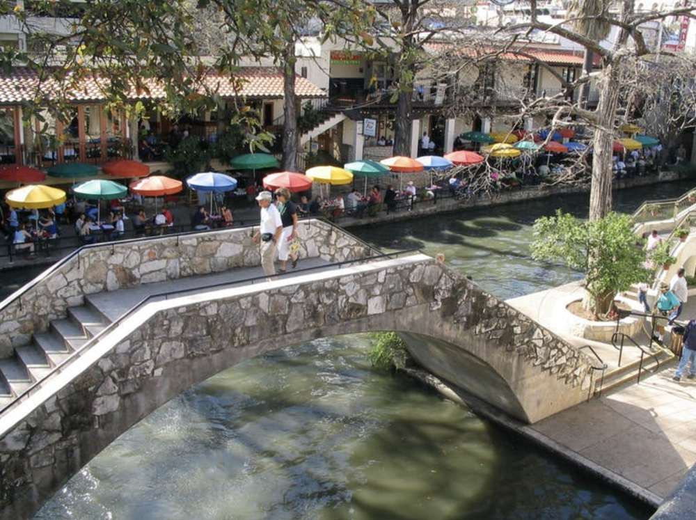 The River Walk in San Antonio, Texas, is a popular shopping and dining area catering to tourists