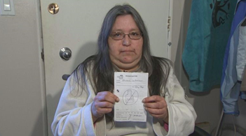 Michelle Labrecque's prescription for severe stomach pain was merely a message to not drink (source: CBC news).