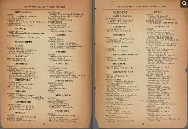 Pages from an original 1947 edition of the 'Green Book' highlight businesses in Mississippi and Missouri. Schomburg Center for Research in Black Culture, Manuscripts, Archives and Rare Books Division, The New York Public Library. 'The Negro Motorist Green Book: 1947' The New York Public Library Digital Collections. 1947