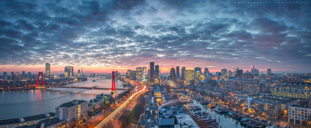 View of Rotterdam at sunset. Image credit: ZOOM.NL