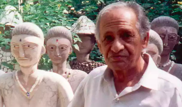 Nek Chand surrounded by his sculptures. Image Credit: The Guardian