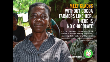 Advertisement embodying Cocoa Life's commitment to empowering cocoa farmers (Source: Cocoa Life).