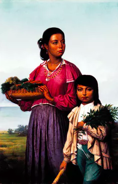 A portrait of two Chitimacha by French-born painter François Bernard (1870).  Wikimedia Commons