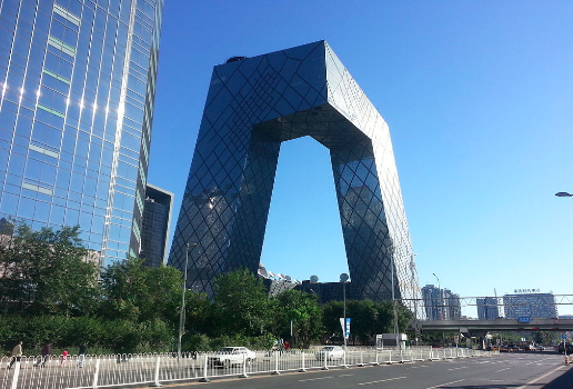 The CCTV building in Beijing. Verdgris. CC BY SA-3.0