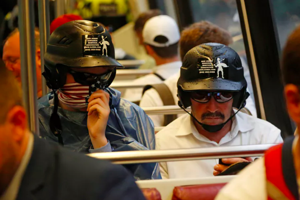 Supporters of white nationalist Jason Kessler on a subway car after an Aug. 12, 2018 rally in Washington, D.C.  Jim Urquhart/Reuters