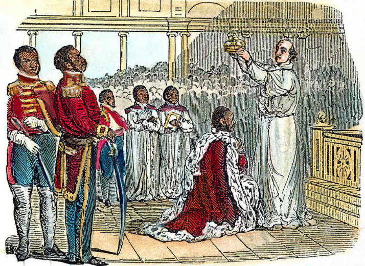 An 1811 wood engraving depicts the coronation of King Henry.  Fine Art America