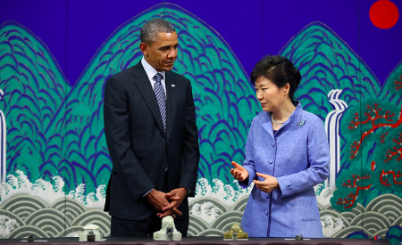 Park Geun-hye meeting with former President Barack Obama in 2014. Republic of Korea/Jeon Han. CC BY-SA 2.0