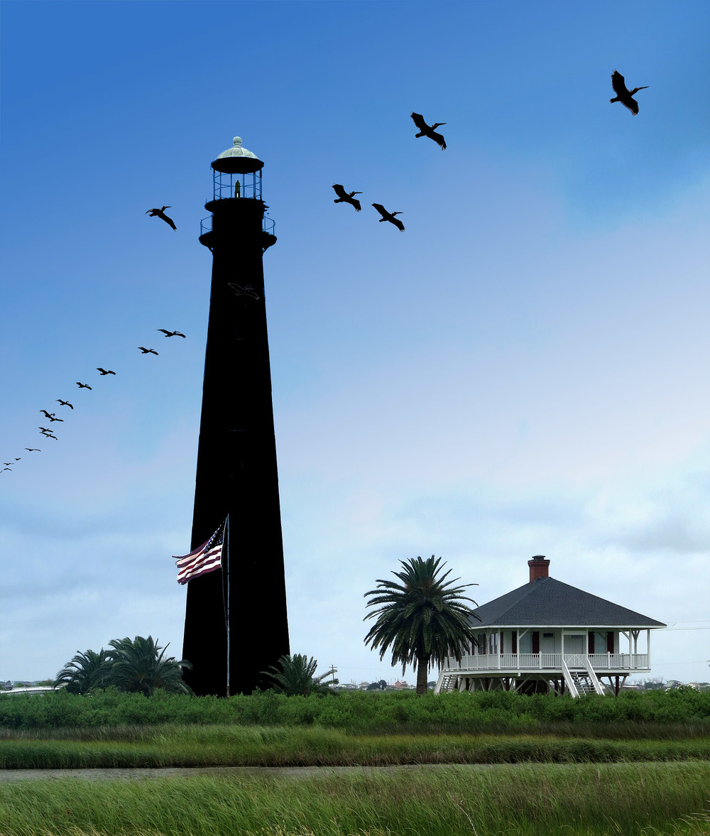Bolivar Point Lighthouse on the west end of the Bolivar Peninsula near the ferry landing