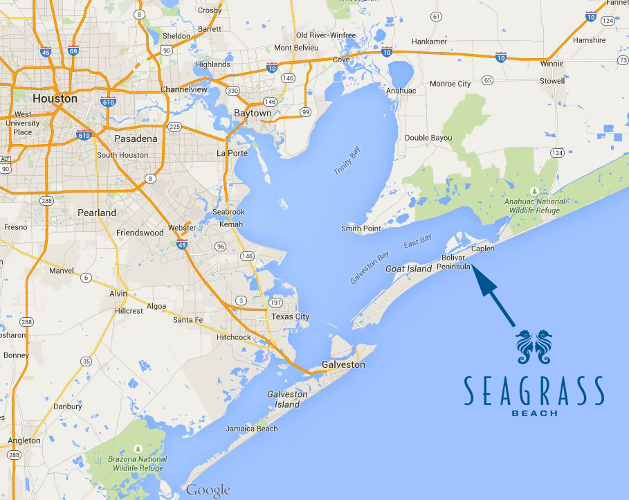 Seagrass Beach is located on Upper Texas Gulf Coast near Houston and Beaumont