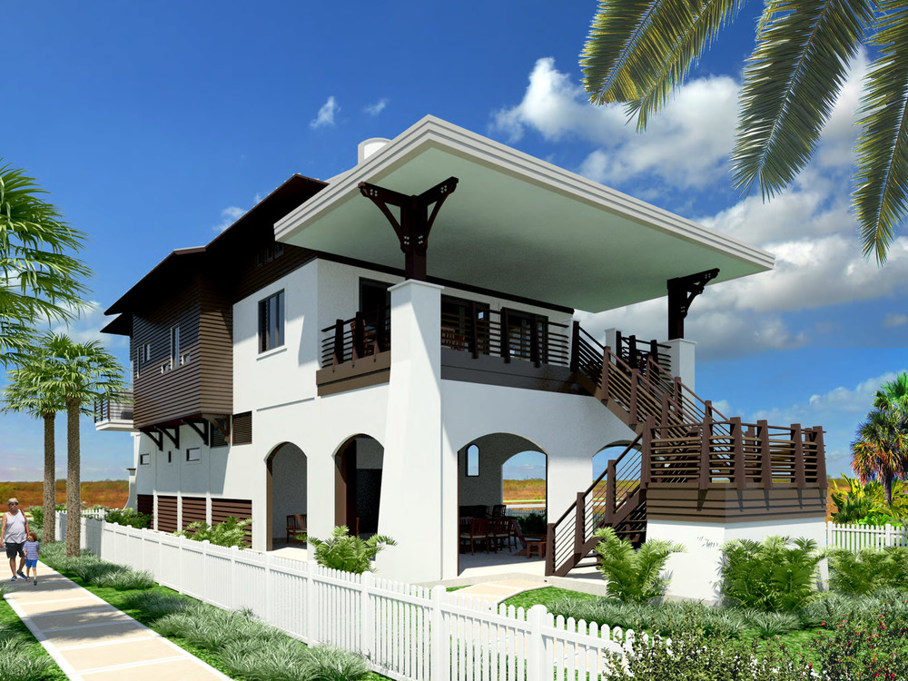 Rendering of the beach side of the home overlooking the pool area and the Gulf of Mexico