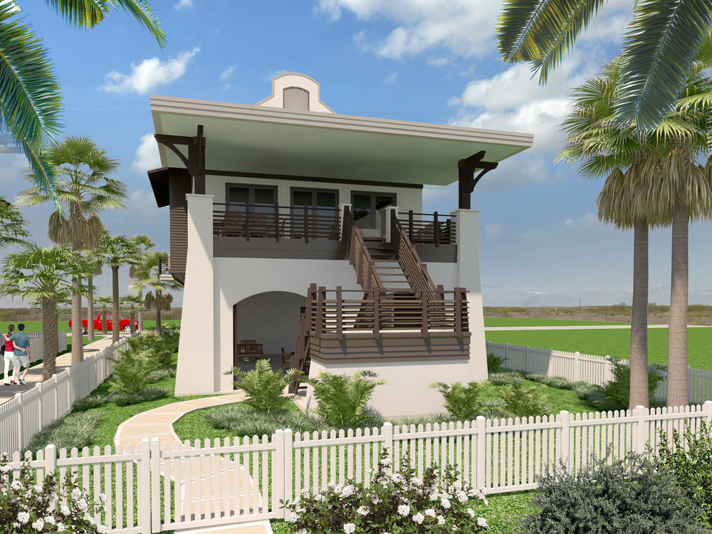 Rendering of the beach side of the home overlooking the communal lawns and pool area and the beach and Gulf of Mexico beyond