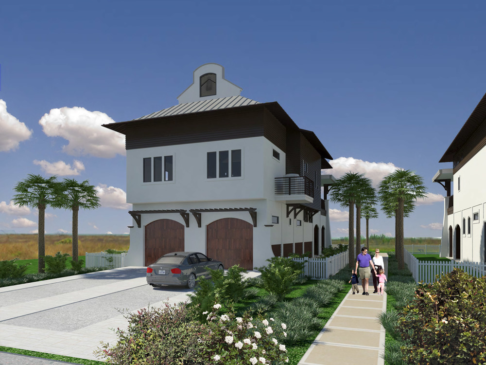 Rendering of the street side of the home