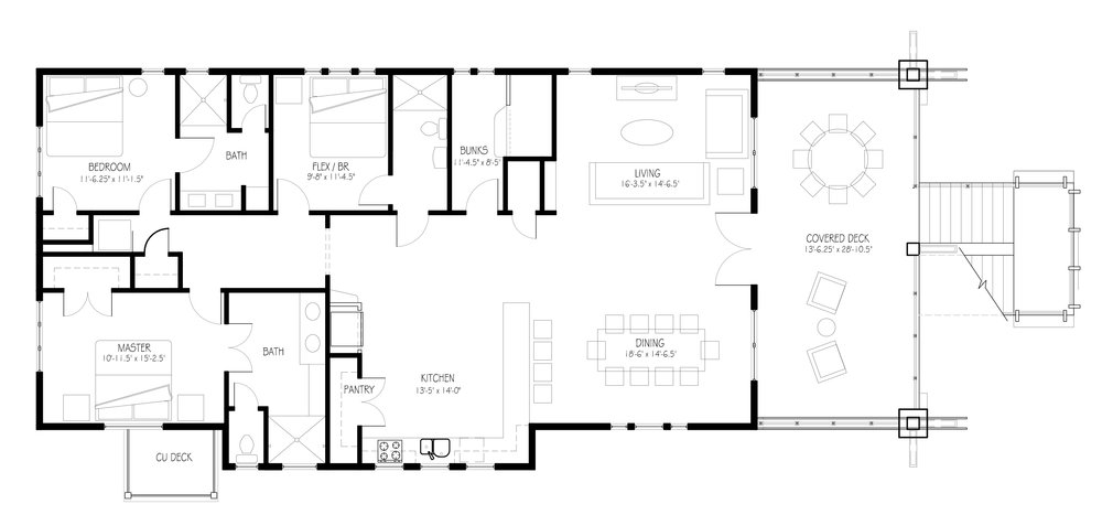 Floor plan of home showing 3 bedrooms plus bunk room, and open floor plan concept