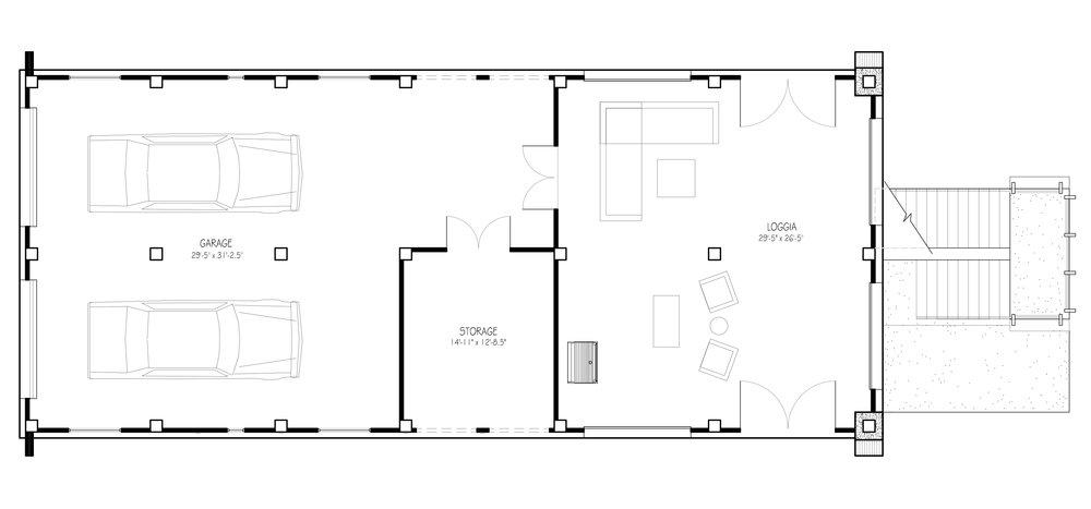 Ground Floor Plan Showing 3 Car Garage, Storage Closet and Loggia