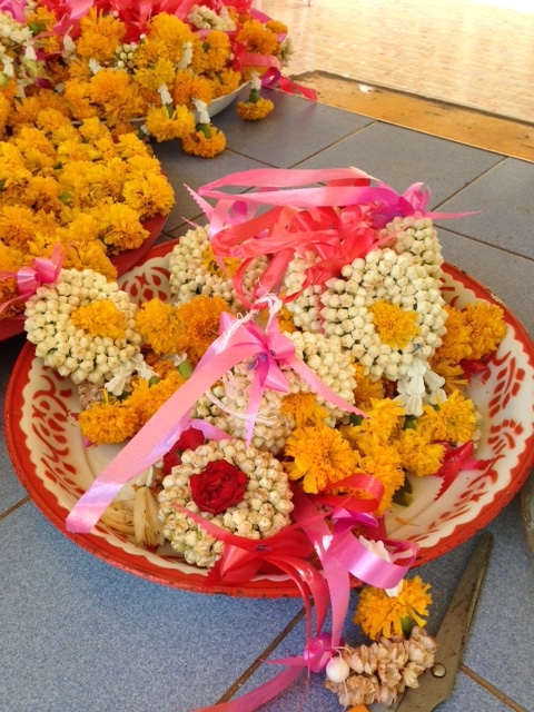 Flower offerings to give at the temple. They also give these to special guests. We received them many times during our first week in Thailand.