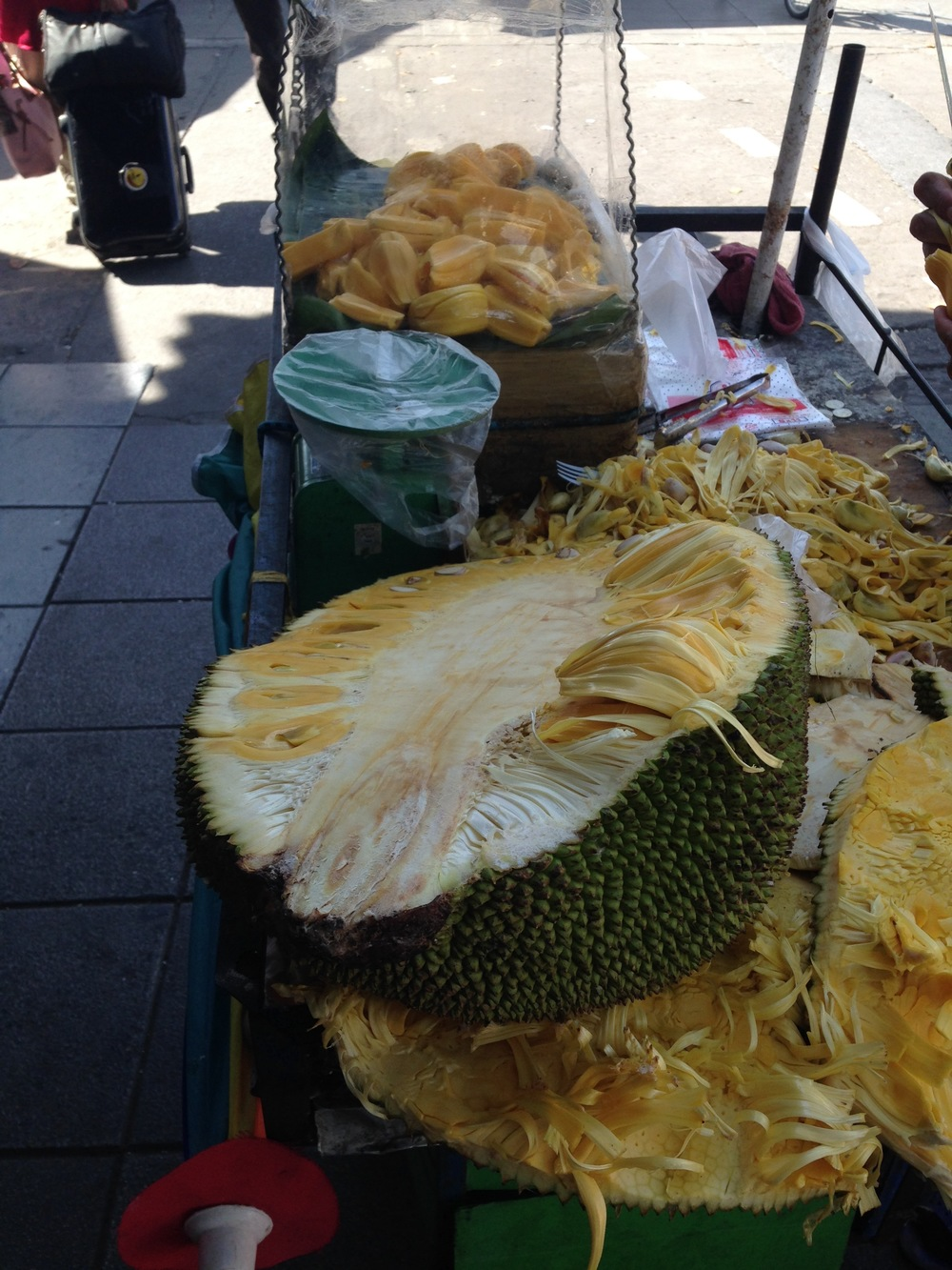 Jackfruit! Before and after both in photo above.