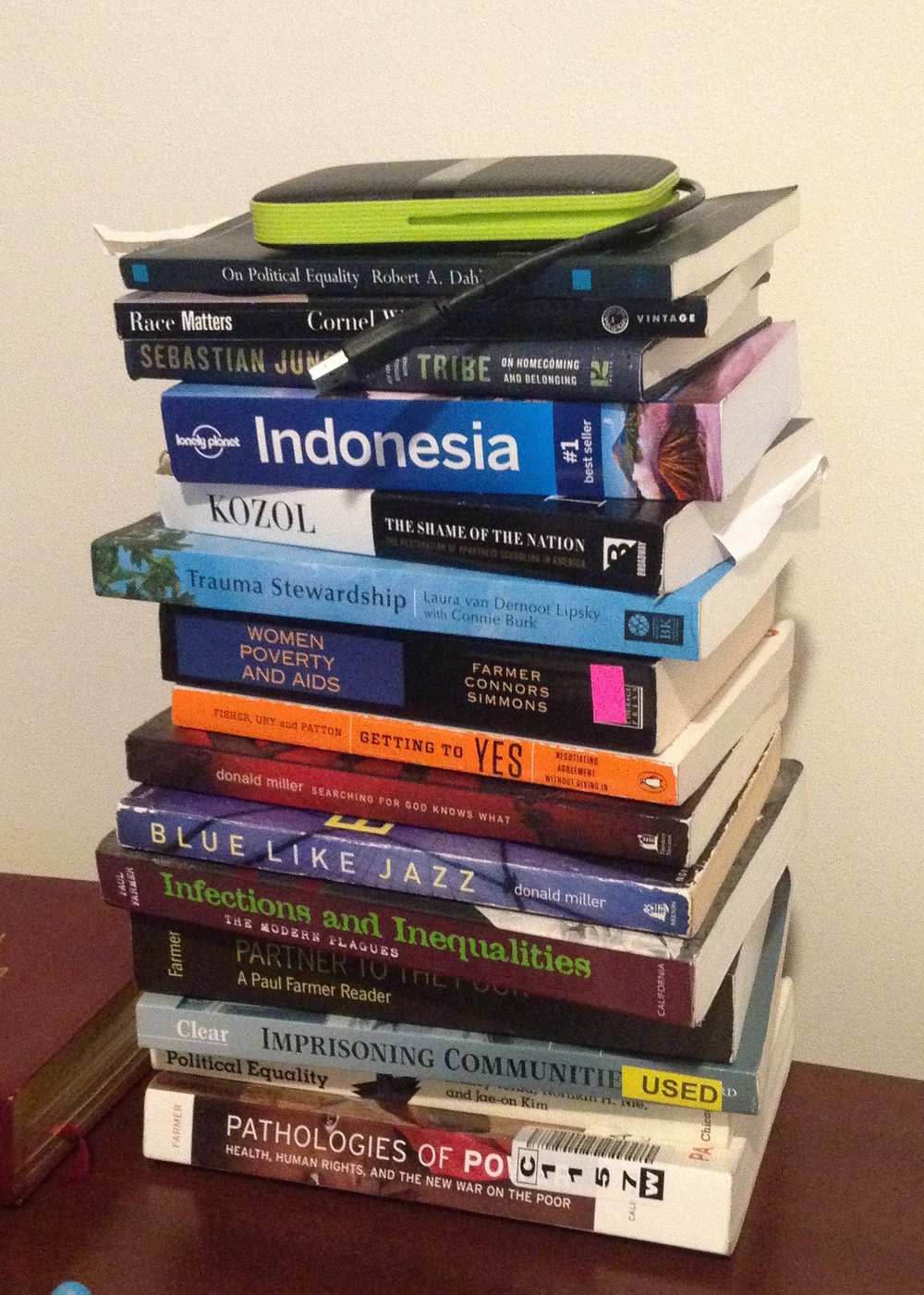 Speaking of piles, here's a pile of SOME of the books that John and I brought back to Thailand - and by us, I mean mostly John!