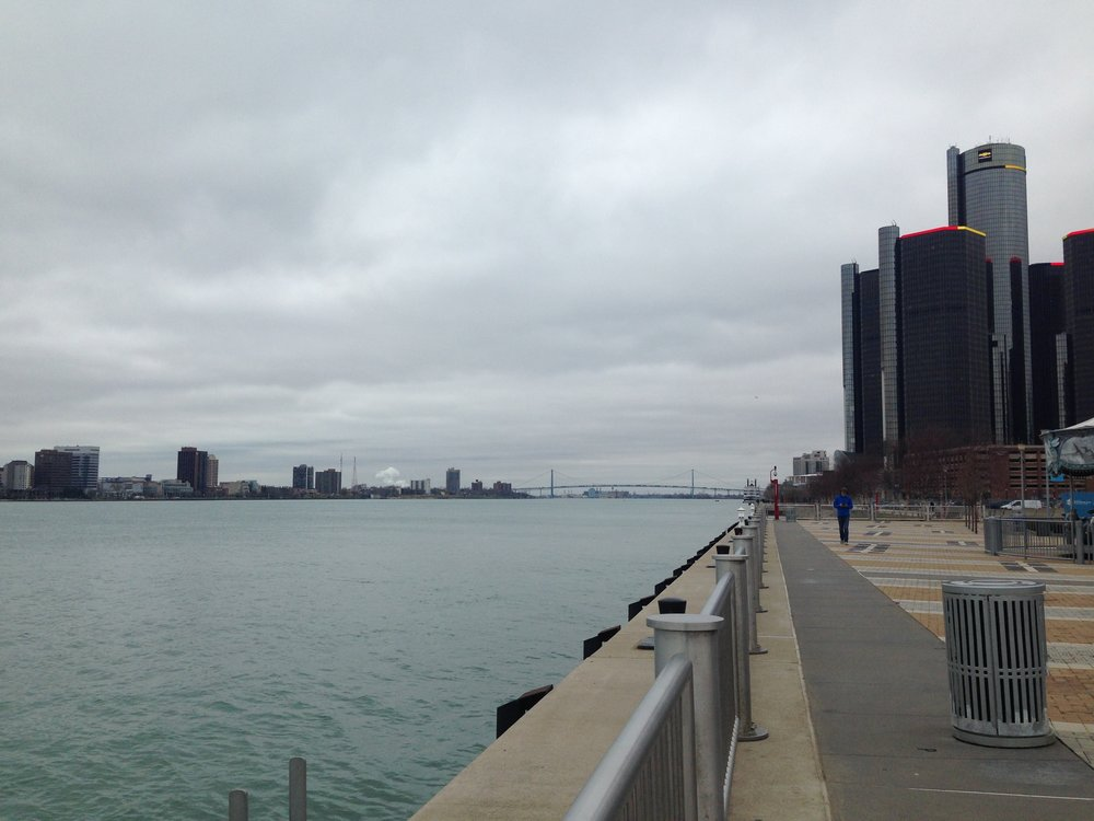 A view of the 'new' Detroit Riverwalk, with the Ambassador Bridge in the background and Windsor to the left.