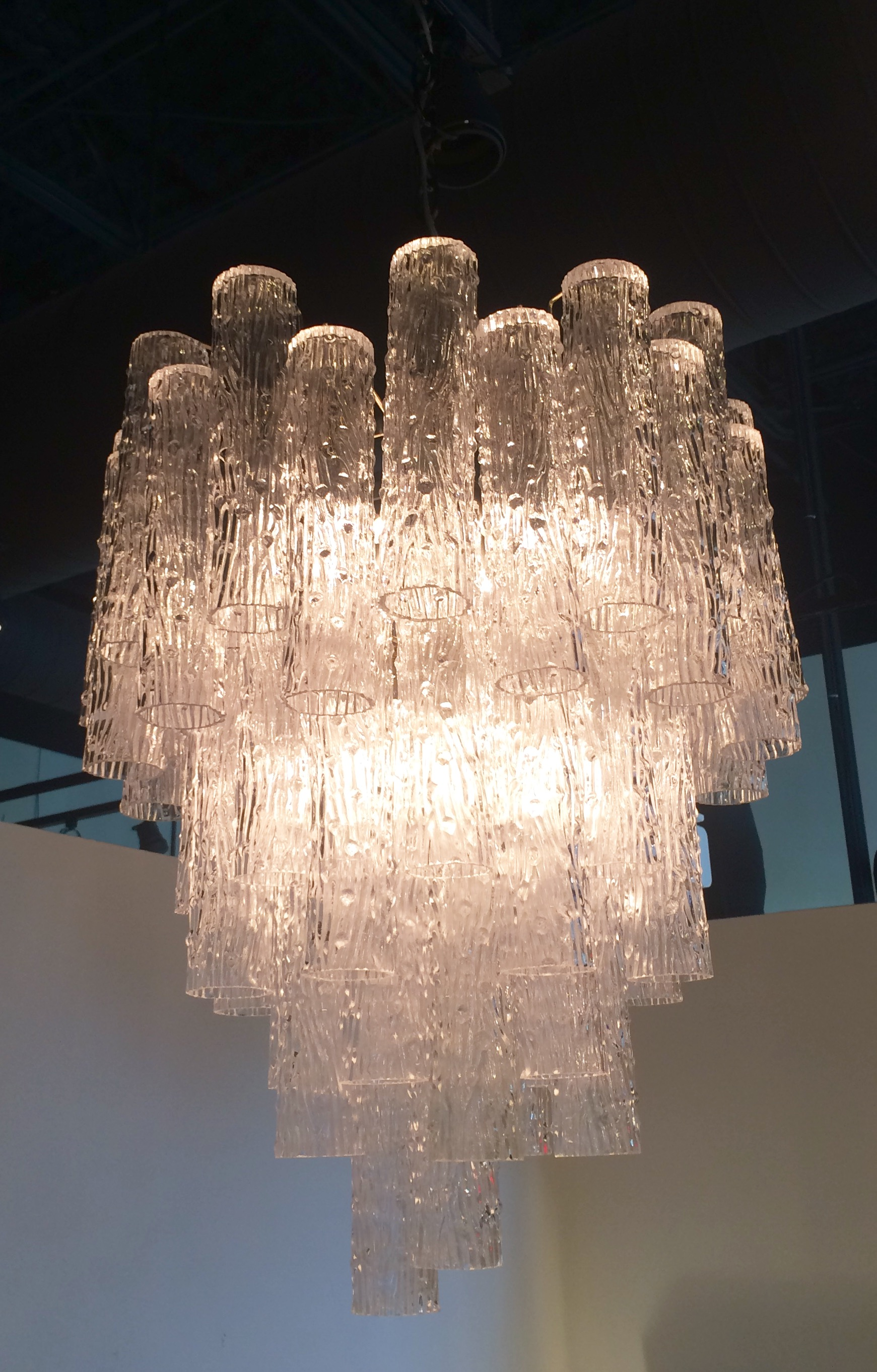 Sold Mid 20th Century Venini Crystal Chandelier With Tronchi Drops James Mcinroe Inc