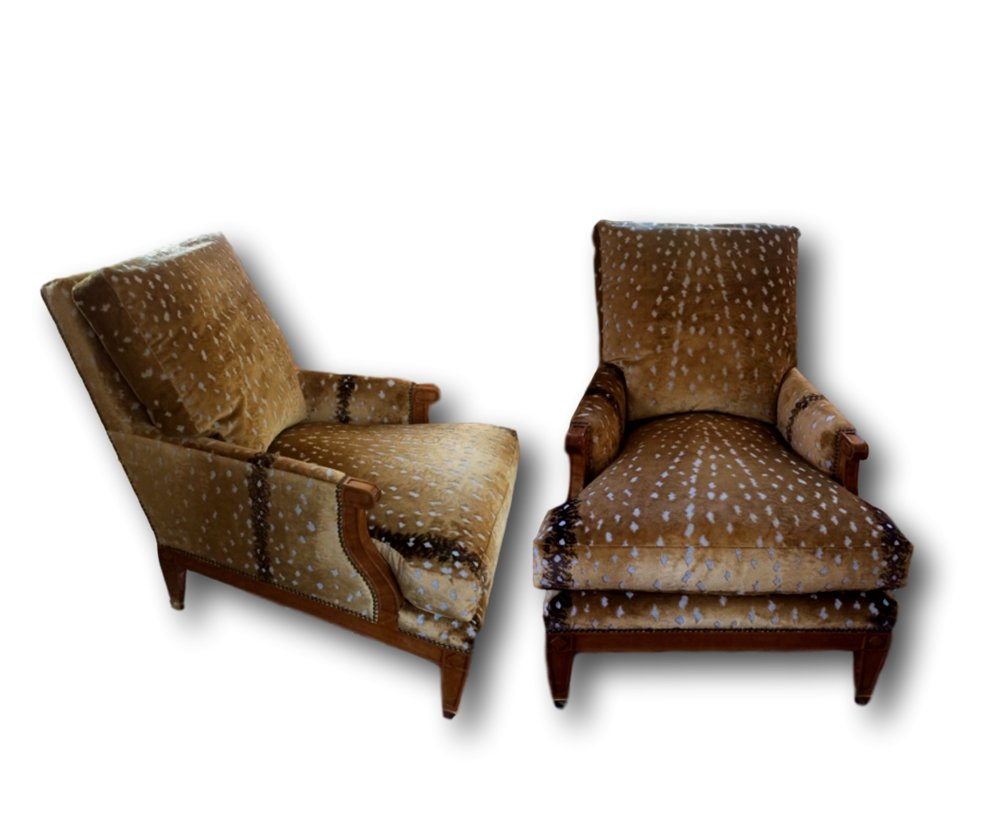 SOLD Custom Made Louis XVI Style Lounge Chairs