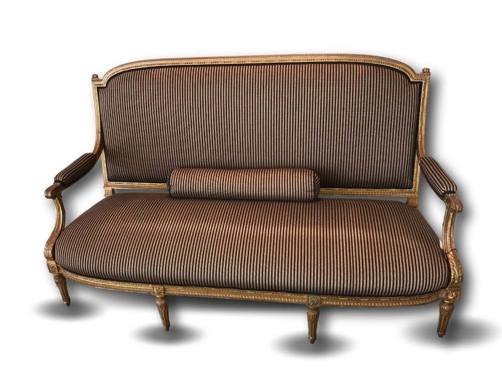 SOLD Late 19th. Century Gilt Wood Framed Louis XVI Style Sofa
