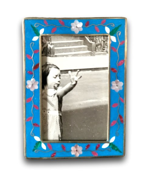 Mexican Silver Enamel Small Photo Frame James Mcinroe Inc
