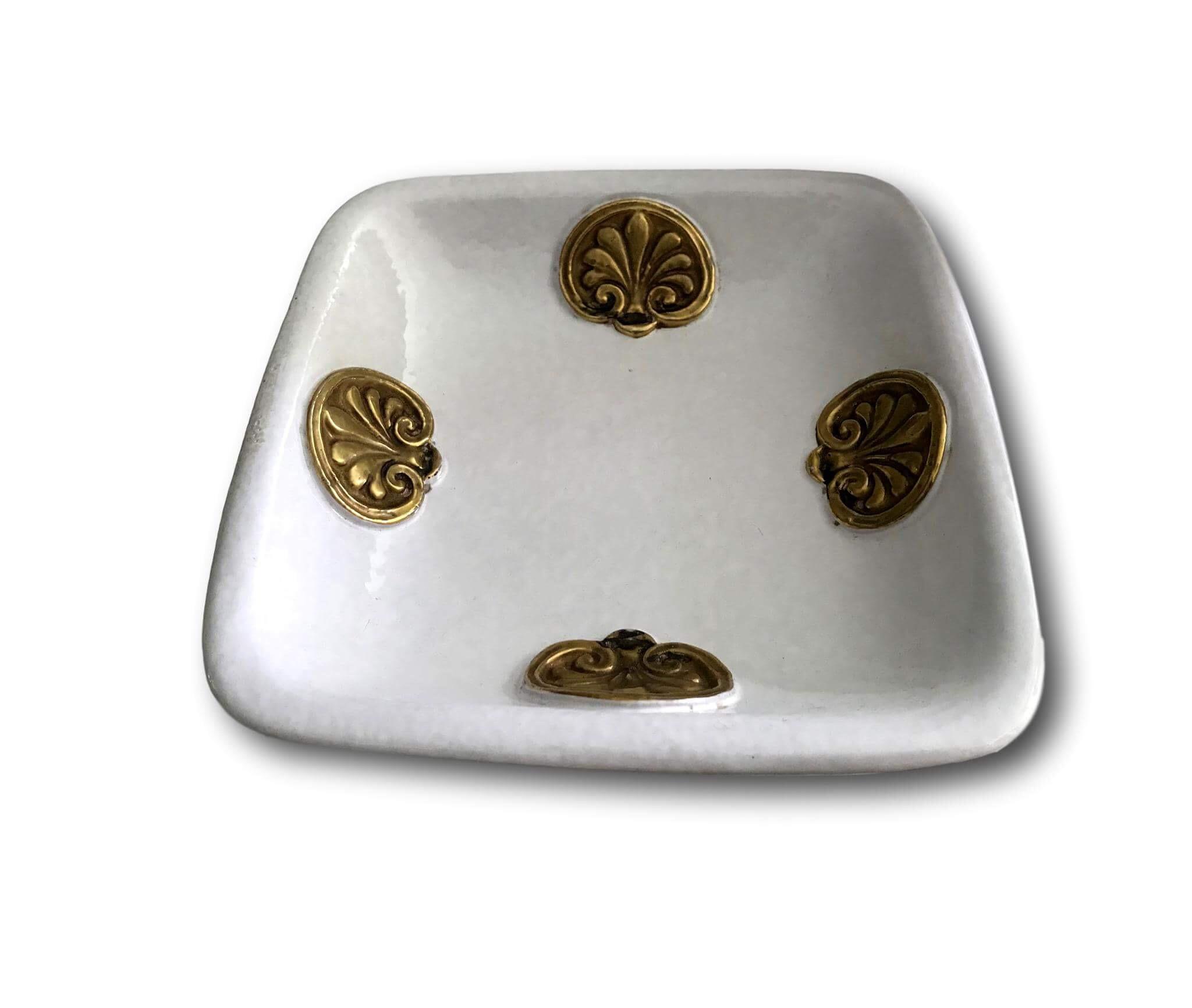 Large 1930 S Ugo Zaccagnini White Ceramic Ashtray James Mcinroe Inc
