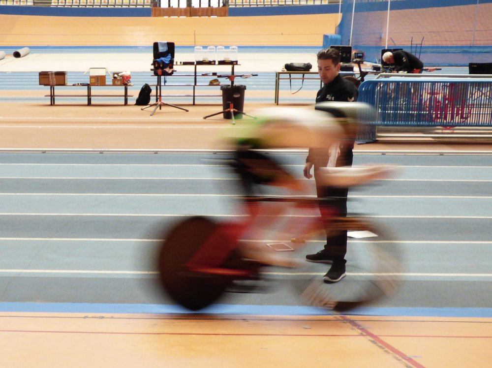 A photo I took during out test day at the Valencia Velodrome. Coach Dajo analysing Scott Davies.