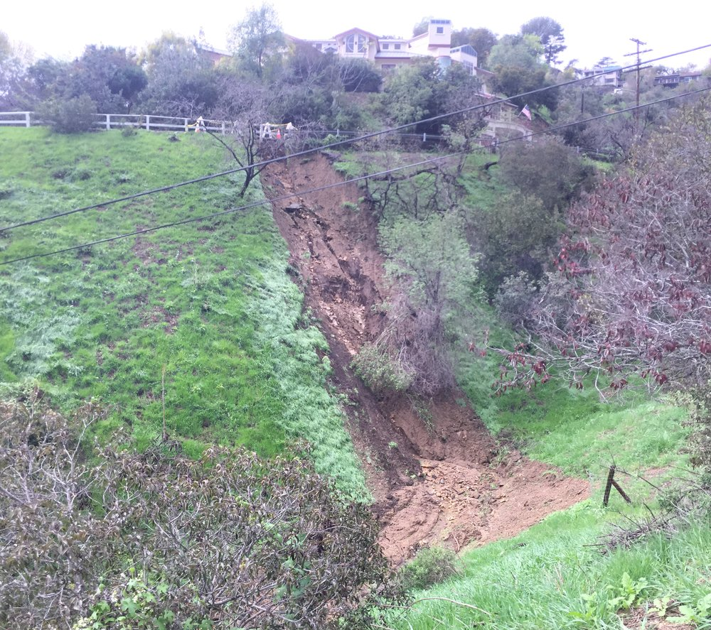 Rainwater from the road destabilized the hillside
