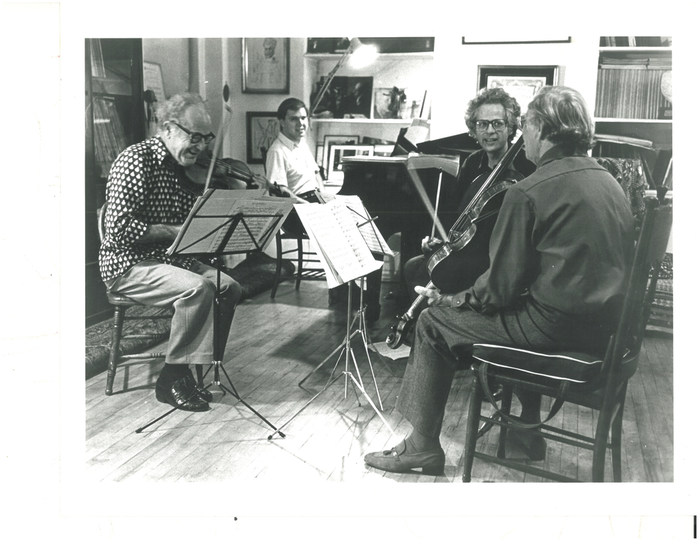 ALEXANDER SCHNEIDER, VIOLIN; LEE LUVISI, PIANO; LAURENCE LESSER, CELLO; WALTER TRAMPLER, VIOLA. PHOTOGRAPHED FALL 1979