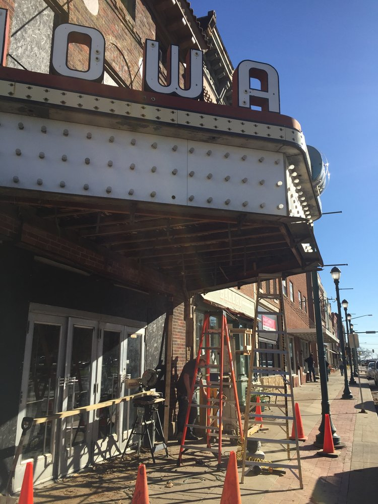 The marquee makeover begins, November 2016.
