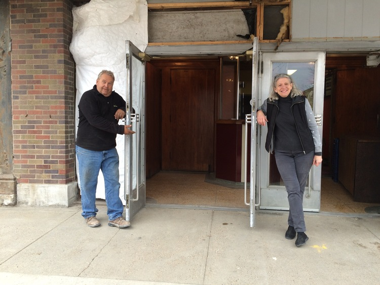 Steve Reed and Marianne Fons stand outside The Iowa's doors, 2015.