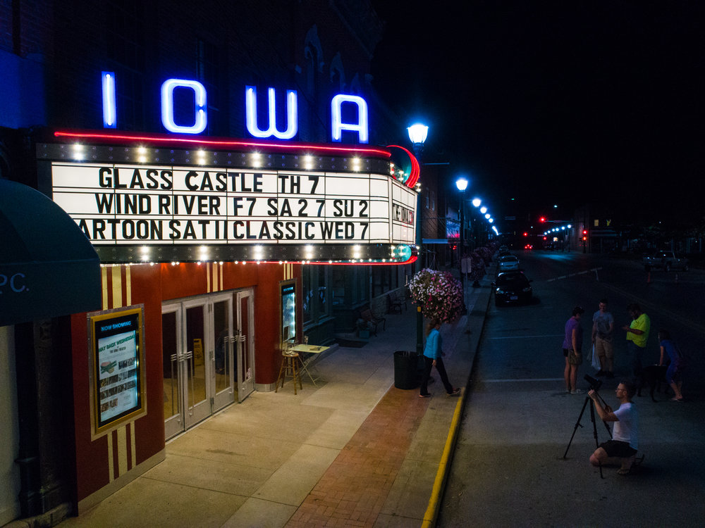 The Iowa's full marquee lights were turned on - after being dark for more than thirty years - on September 12, 2017! Photo courtesy Todd Scott.
