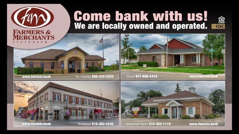 Farmers & Merchants State Bank still ad, designed by Carol Bassett.