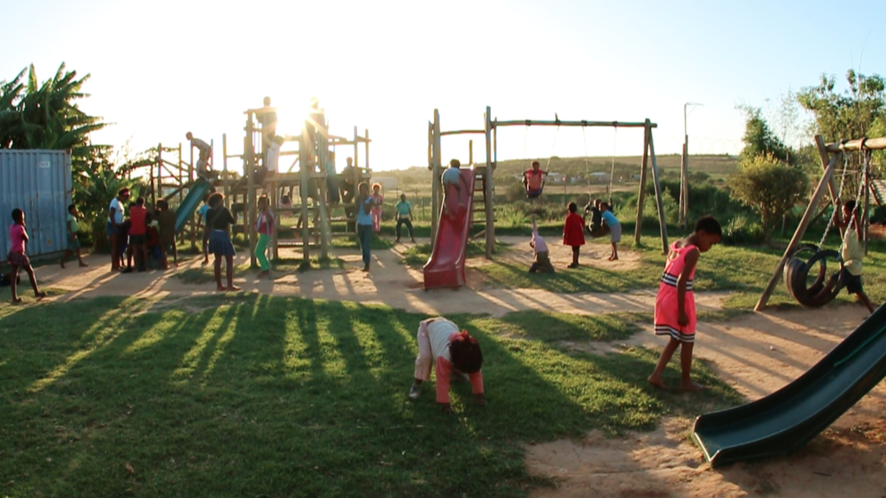 Local children from the community playing at the Langbos Creche & Care Centre.