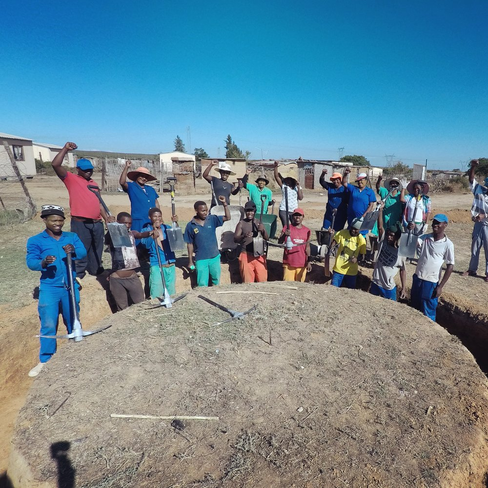 Langbos building team breaking ground, February 2017