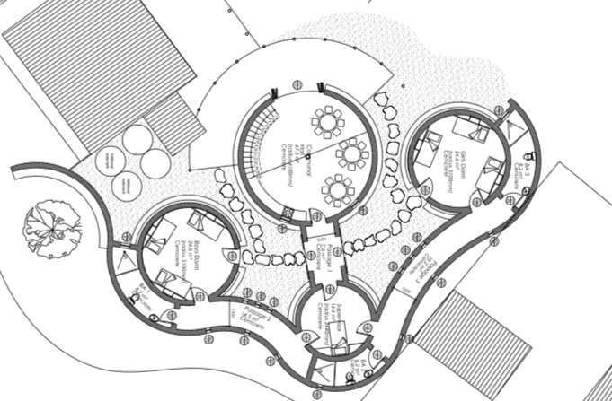 Design includes 4 Superadobe domes:  One large central dome to be used as a communal space for meals and studying (top); Three smaller domes that will serve as separate bedrooms for boys and girls on the outer two domes (left and right), and caregivers in the middle back dome.  The bedroom domes are connected by a closed back passageway that also connects to bathrooms for each dome.