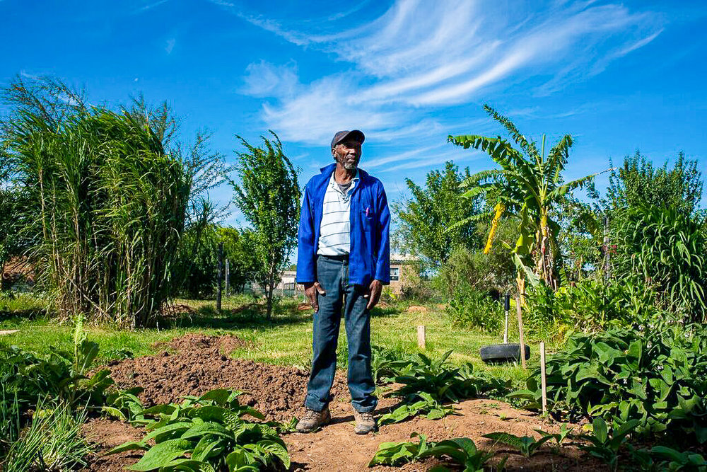 Mkhize standing proudly in the Langbos community garden, 2018. Photo by  Kavish Rajpaul.