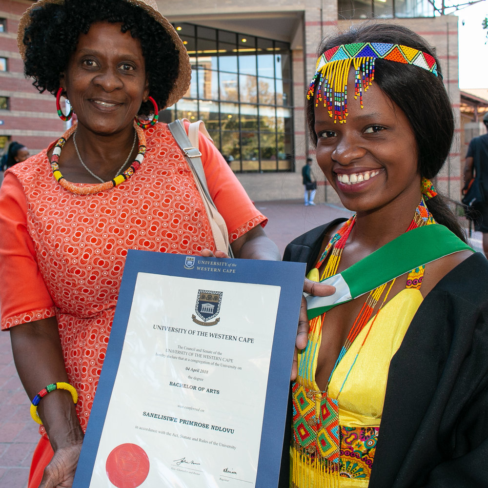 Saneliswe and her mother at her graduation from the University of the Western Cape, February 2018.