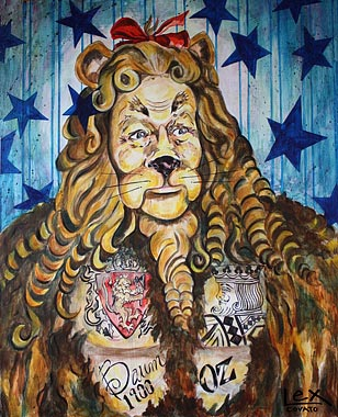 Trunk Show featuring Lex Covato—Lion's Courageous Ink, original painting © 2015.