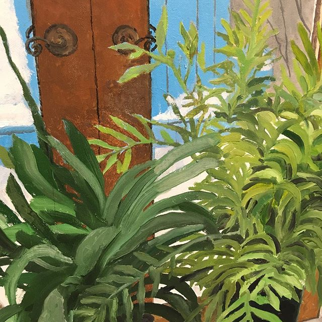 """Interior with Plants (detail)   oil on canvas   36"""" x 24""""   by Robert Bowden © 2017.  See this original painting and more in the @pittsburghsocietyofartists' 52nd Annual Exhibition held in The Artsmiths' Underground exhibition gallery.  Now on display through January 13, 2018.  #pghart #artexhibit #exhibition #originalartwork #ooak #pittsburgh #shoppgh #shoplocal #shophandmade #theartsmiths #artsmithspgh"""