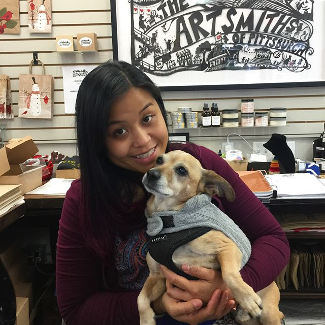 Samson the Shop Dog is here to help you with all your holiday gift-giving needs!  We are open until 8pm today.  Stop in to say hello and give Samson a belly rub.