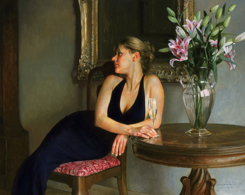 "CHAMPAGNE AND LILIES. 2002. OIL ON PANEL 24"" X 30"""