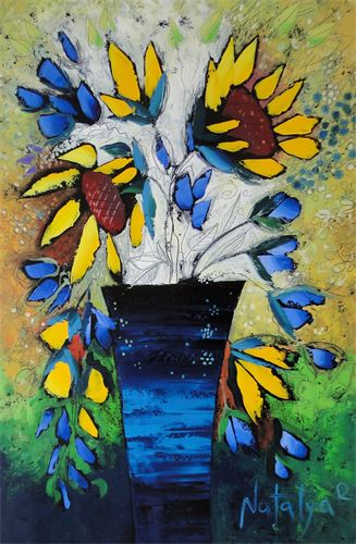 BLUE VASE. ORIGINAL OIL PAINTING. 2015